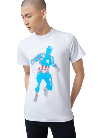 White color T-Shirts and Polos . Official Captain America T-Shirt -