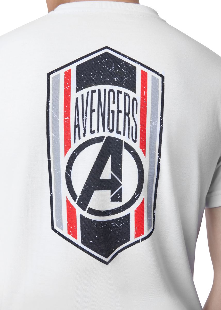 White color T-Shirts and Polos . Official A for Marvel's Avengers T-Shirt -