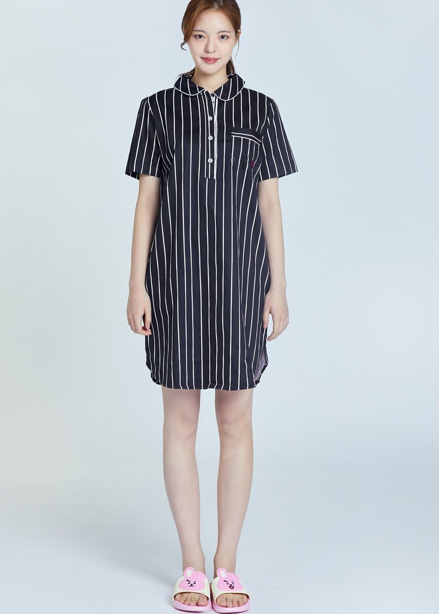 Black color Tops and Tunics . BT21 x HUNT Short Sleeve One-piece Cooky HIYO91201T -