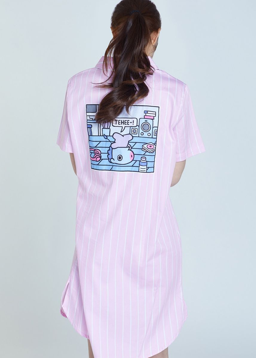 Pink color Tops and Tunics . BT21 x HUNT Short Sleeve One-piece Mang HIYO91201T -