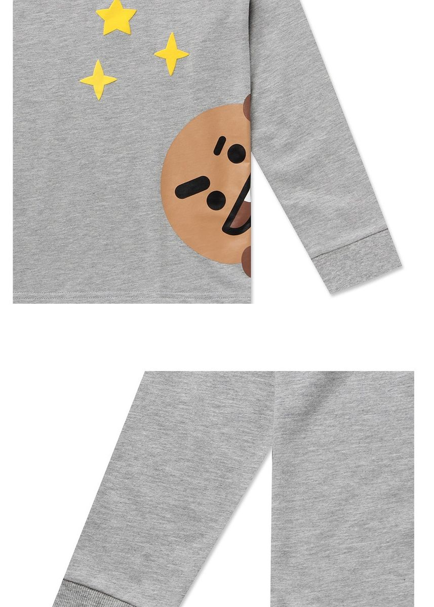 Grey color  . BT21 x HUNT Peeking Long Sleeve Tee Shooky HIYH91101T -