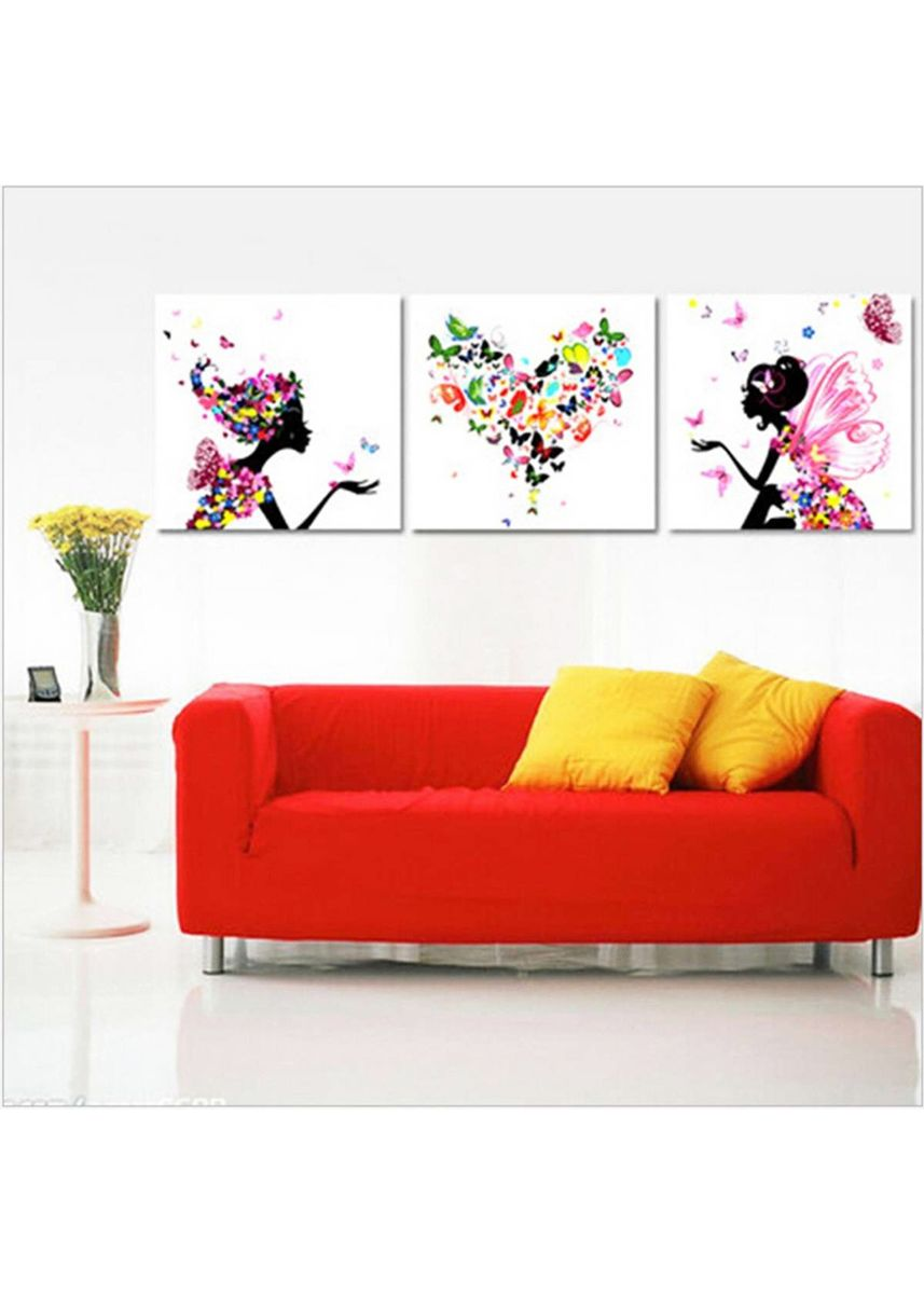 Multi color Home Decor . 3 Pcs Set Frameless DIY Oil Painting - Triptych Flower Fairy -
