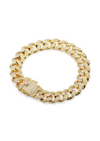 ทอง color สร้อยข้อมือ . Hip Hop Style 18K Gold Bracelet With CZ Men -
