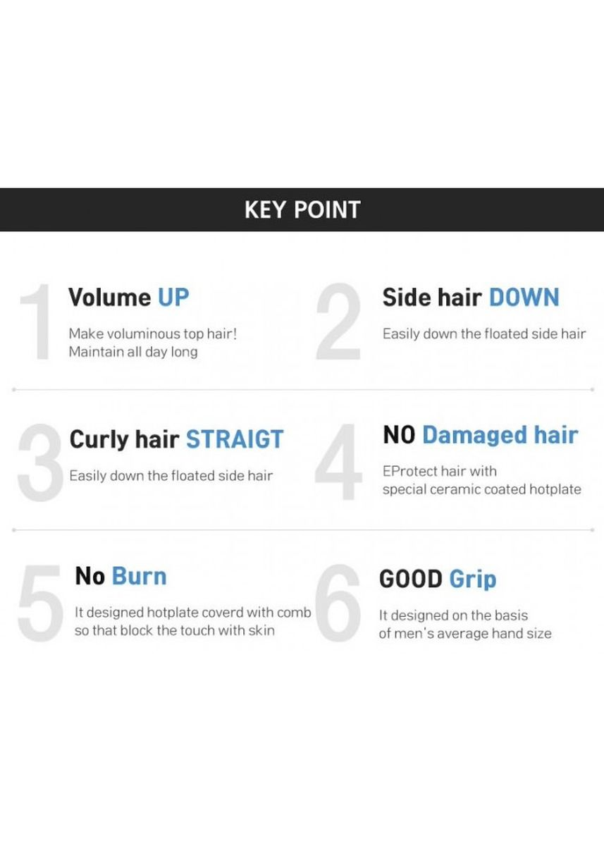 Black color Personal Care . MSTYLER FOR BEAUT FB161 - Modelling Comb Ceramic Iron Hair Styling Men -