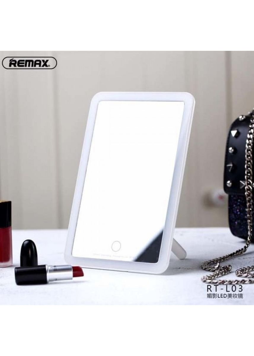 White color Personal Care . REMAX RT-L03 - LED Beauty Makeup Mirror - Cermin Makeup dengan Lampu -