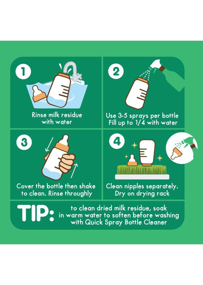 Green color Others . Tiny Buds Quick Spray Baby Bottle Cleaner 200ml -