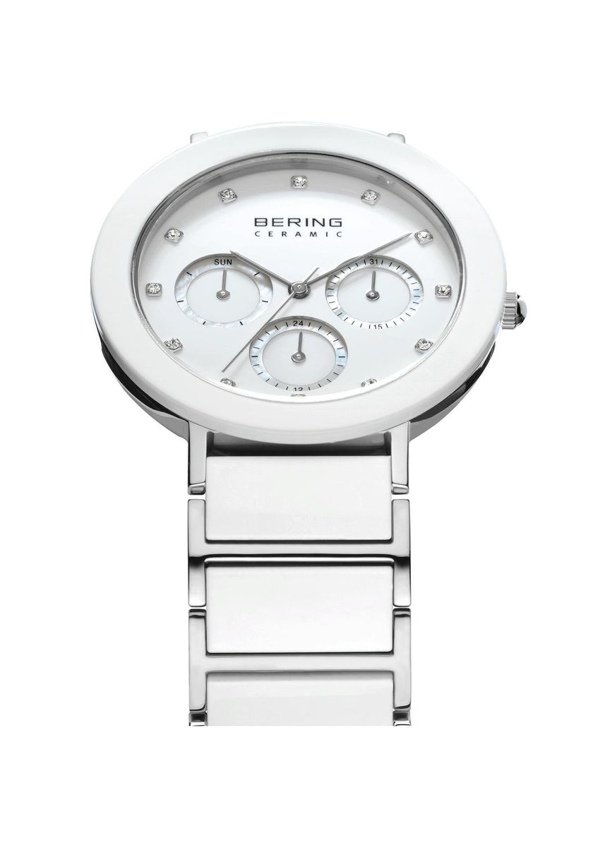 Silver color Chronographs . Bering Ceramic 11438-754 White Dial 38 mm Women's Watch -