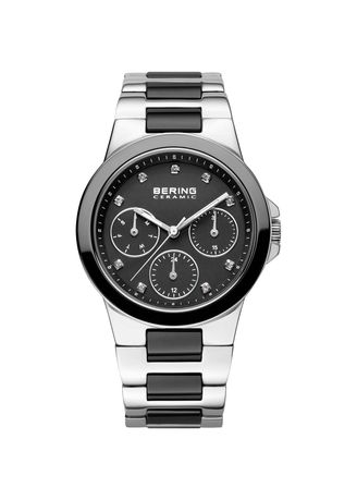 Silver color Chronographs . Bering Ceramic 32237-742 Black Dial 37 mm Women's Watch -