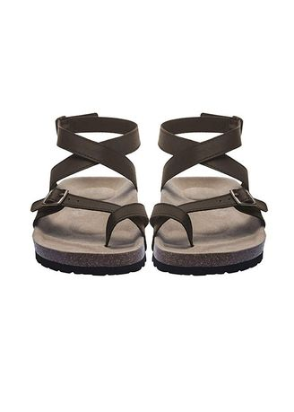 Black color Sandals and Slippers . Women's Cross Toe Double Buckle Strap -