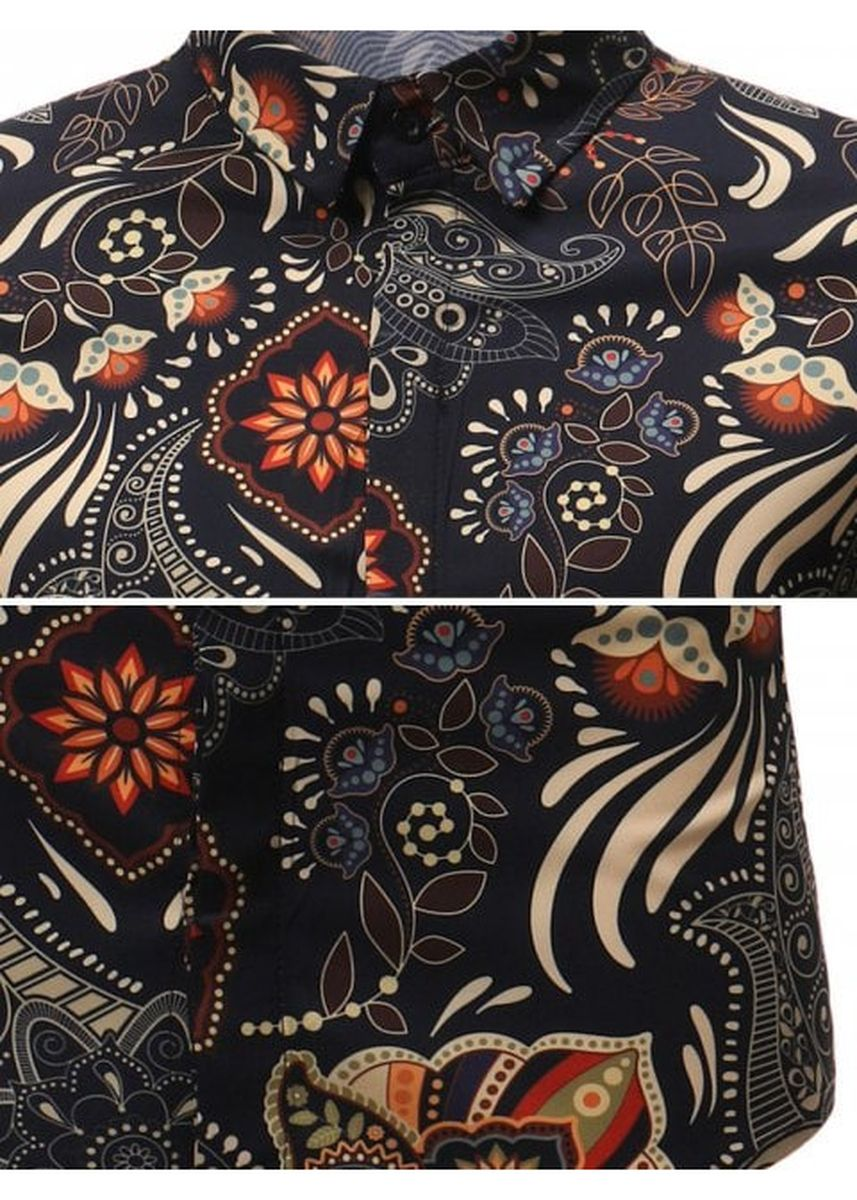 Multi color Casual Shirts . Short Sleeves Flowers Paisley Print Casual Shirt -
