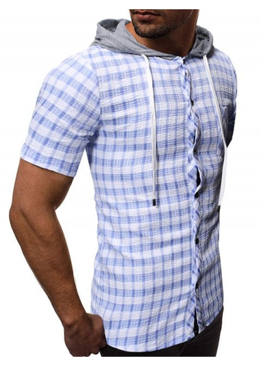 Multi color Casual Shirts . Plaid Print Hooded Short Sleeves Shirt -