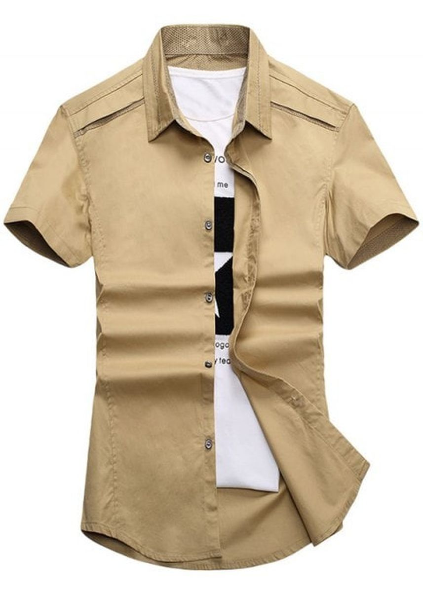 Multi color Casual Shirts . Edging Short Sleeve Slim Fit Cargo Shirt -