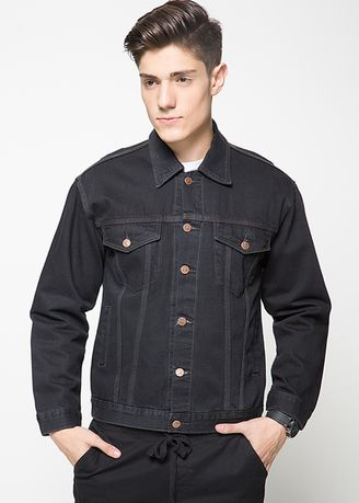 Black color Jackets . 2Nd RED Jaket Denim with Button- 4 Warna  -