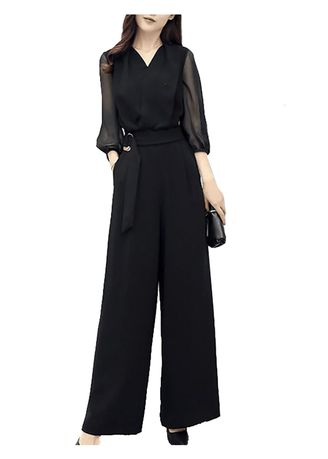 ดำ color จัมป์สูท . Summer Women V-neck Chiffon Wide Leg Jumpsuits -