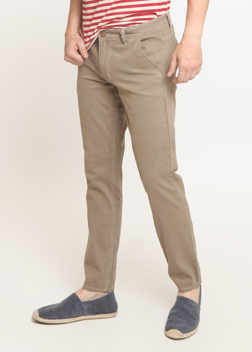 Beige color Casual Trousers and Chinos . Long Pants Chinos Slim Fit Khaki C521 -
