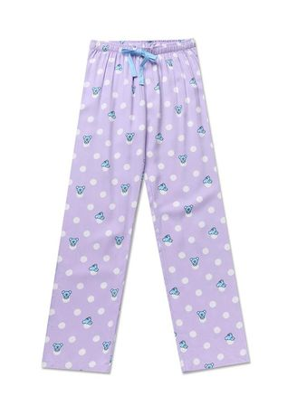 Violet color Pyjamas . BT21 x HUNT Woven Pajama Pants Koya Unisex HIYF83801T -