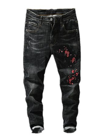 Black color Jeans . Embroidered Stretch-slim Jeans -