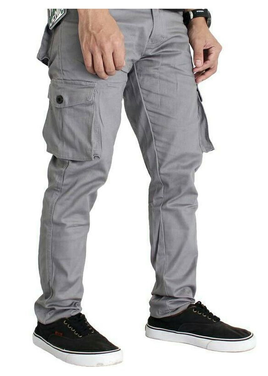 Light Grey color Casual Trousers and Chinos . Celana KARGO PANJANG Kasual Pria/PDL/Celana Gunung -