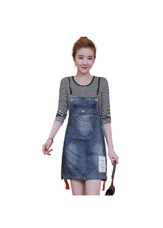 Plus Size Fashion . Large Size Women'S Washed Denim Strap Dress -
