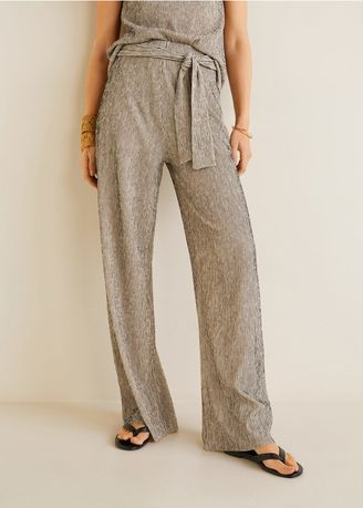 Trousers . MANGO Bow Textured Trousers -