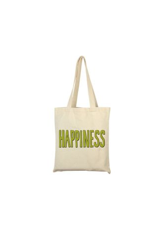 Beige color Hand Bags . Happiness Tote Bag -