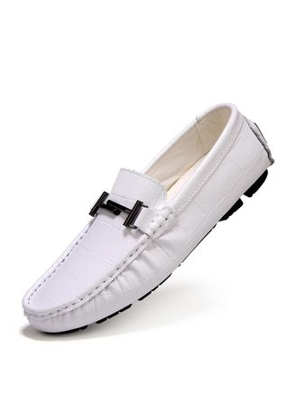 White color Casual Shoes . Men's Shoes Casual Peas Leather Shoes -