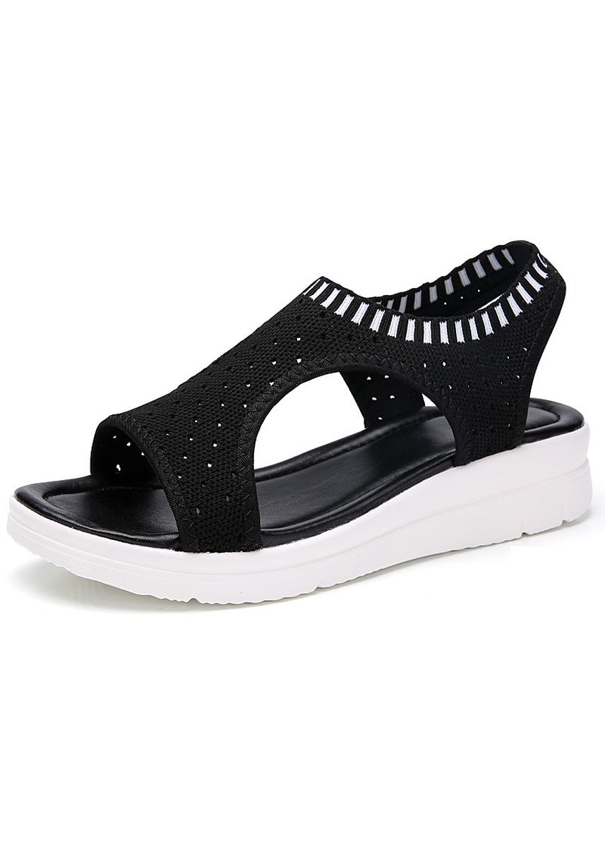 ดำ color รองเท้าบัลเล่ต์ . Fashion Women Breathable Walking Summer Platform Sandal  -