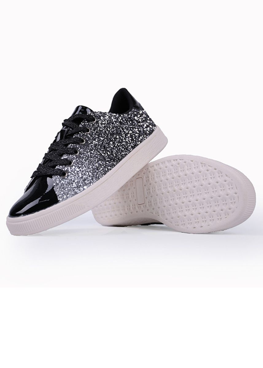 Black color Casual Shoes . Women's Glitter Crystal Rhinestone Lace-Up Flatform Skate Shoes -