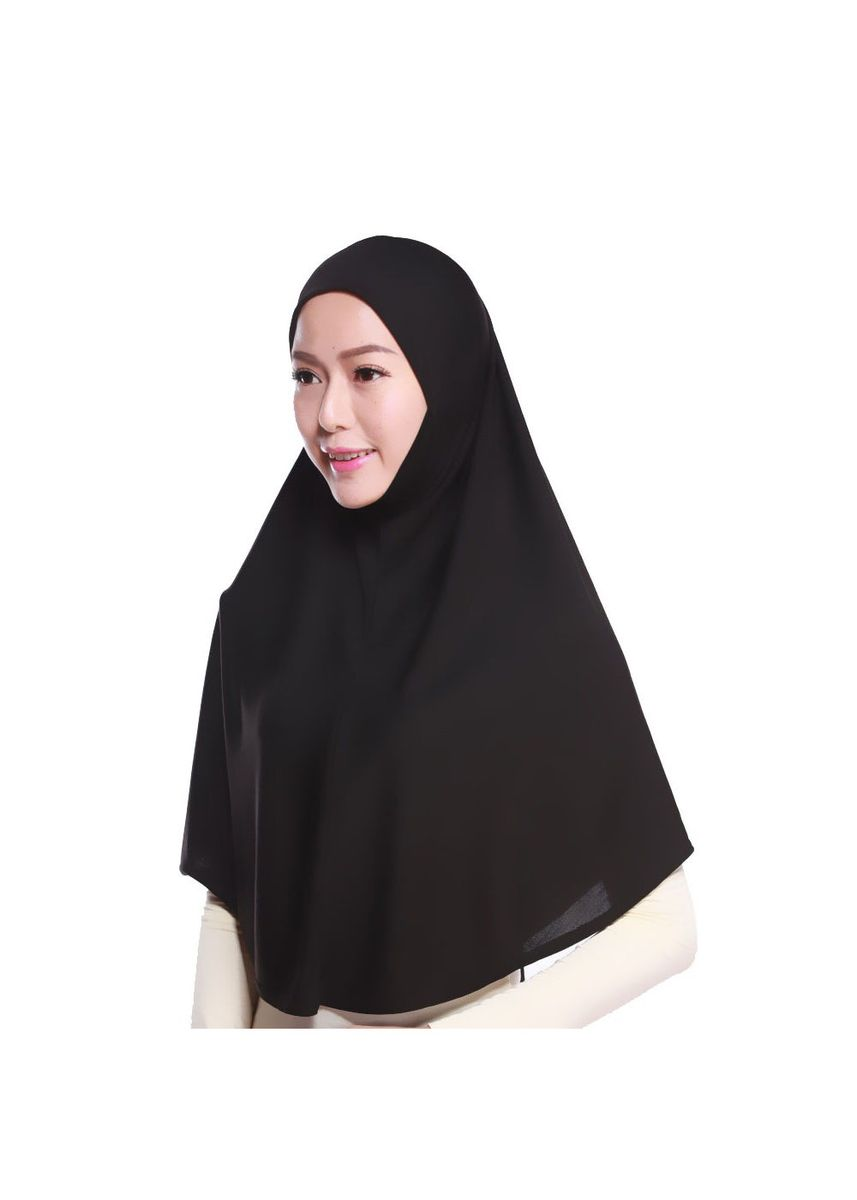 Black color Hijab . Muslim Head Scarf Polyester Amira Arab Islamic Hijab -