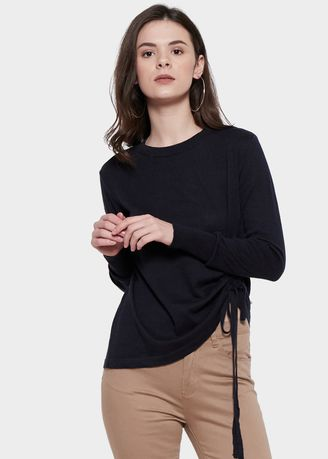 Biru Dongker color Atasan & Tunik . Morphidae Claretta Women Blouse in Navy -