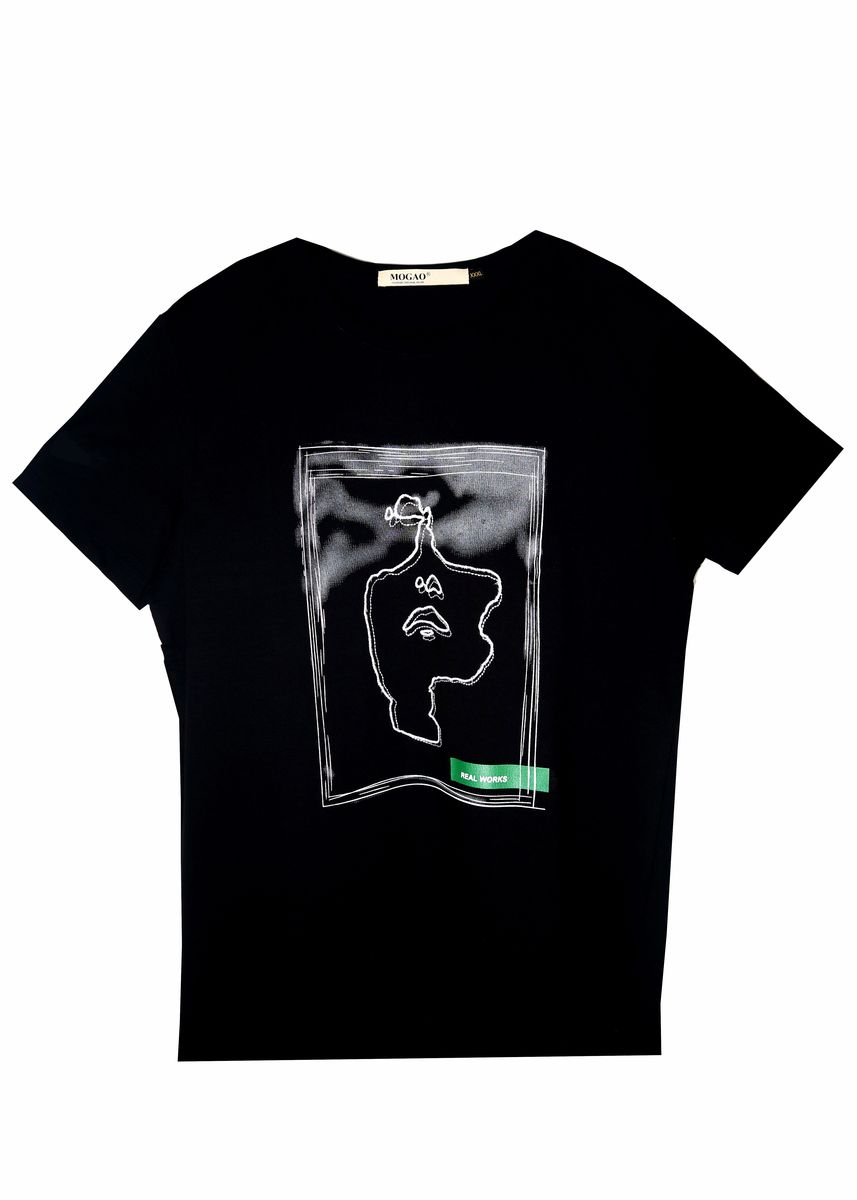 Black color T-Shirts and Polos . Mogao Men's Printed T-shirt -