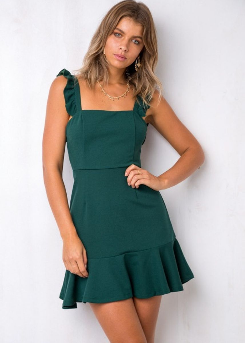 เขียว color เดรส . Sleeveless Solid Holiday Dress -