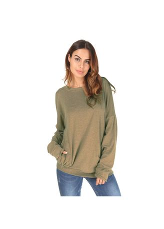 Green color Tops and Tunics . Women'S Apparel Double Pocket Plain Round Neck Full Sleeve Casual Tops Blouse -