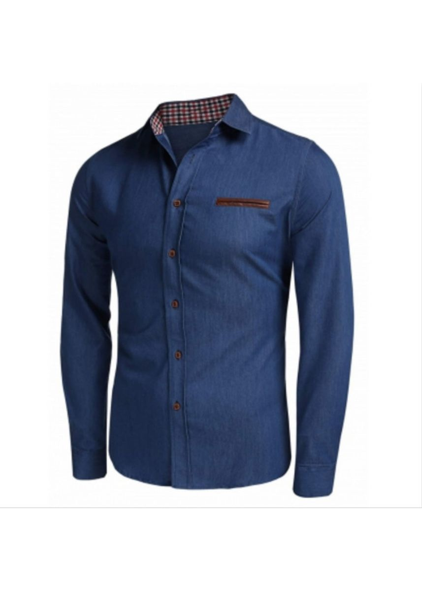 Light Blue color Casual Shirts . Plaid Edge Button Up Casual Long Sleeve Shirt -