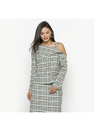 Green color Tops and Tunics . Gingham Off Shoulder Top -
