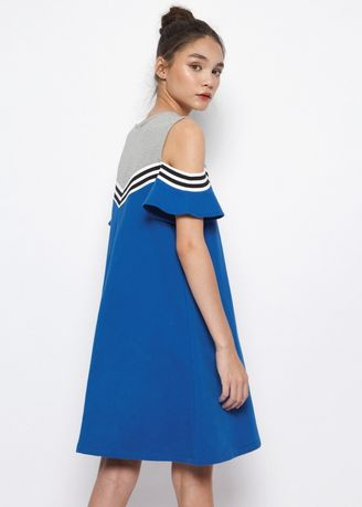 Blue color Tops and Tunics . Jane Off Shoulder Dress DARK BLUE -