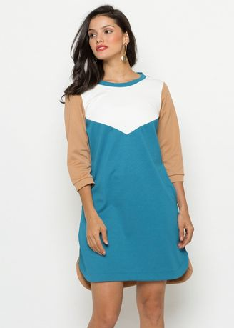 Multi color Dresses . Color Block Sweatshirt Dress -