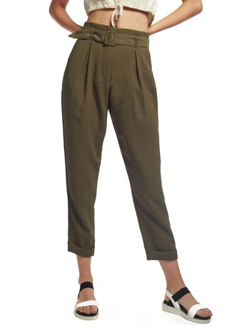 Trousers . OVS Carrot-Fit Trousers With Belt And Buckle -