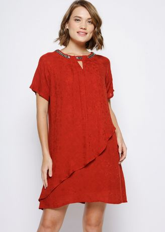 Red color Dresses . Rayon Jacquard Asymmetric Tunic TERRACOTA -