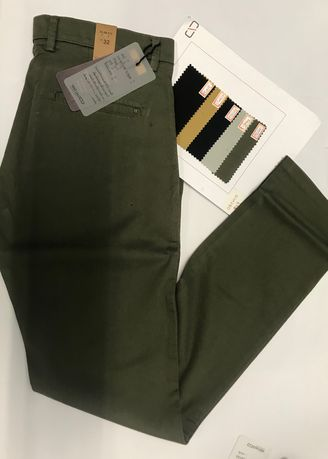 Olive color Casual Trousers and Chinos . Cotton Trousers 004 -
