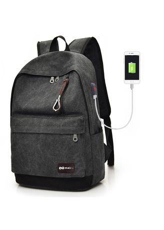 Black color Backpacks . Mairu BC-HB Tas Ransel Laptop Pria Wanita Sekolah Backpack Kanvas Travel Unisex Korea -