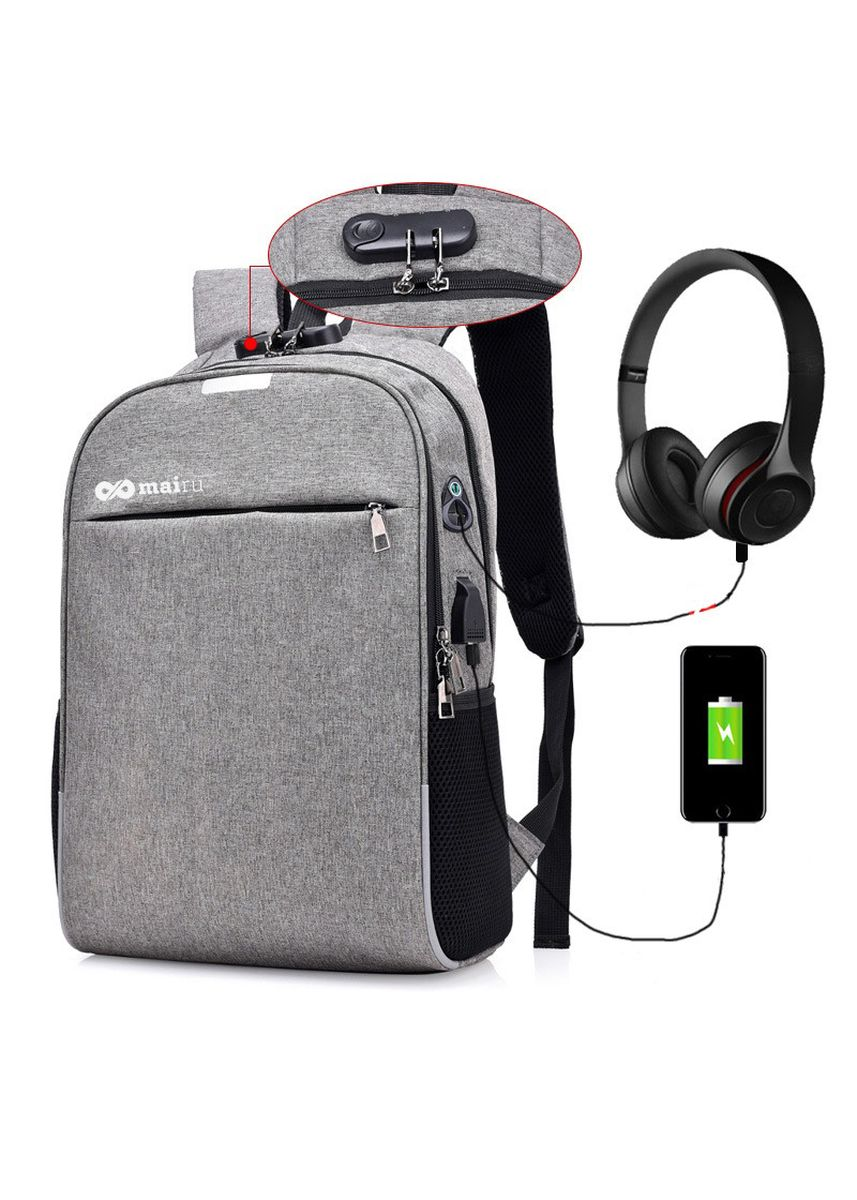 Grey color Backpacks . Mairu BP-L Tas Ransel Anti Maling  Laptop 15,6 inch Support USB Charger Port -