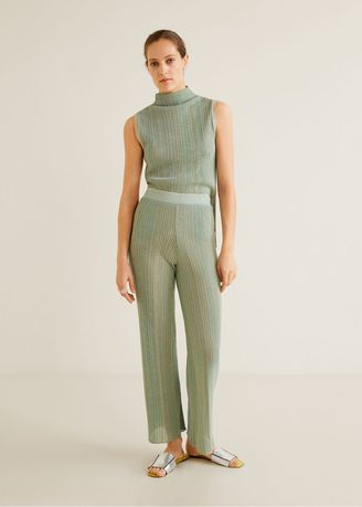 Cyan color Trousers . MANGO Stripped Ribbed Trousers -