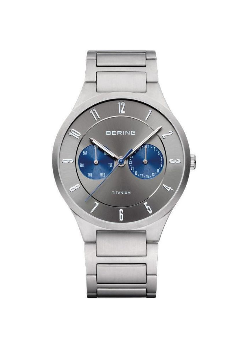 Silver color Chronographs . Bering Titanium 11539-777 Grey 39 mm Men's Watch -