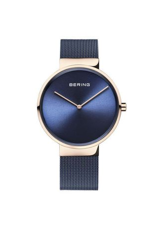 Blue color Analog . Bering Classic 14539-367 Blue 39 mm Men's Watch -