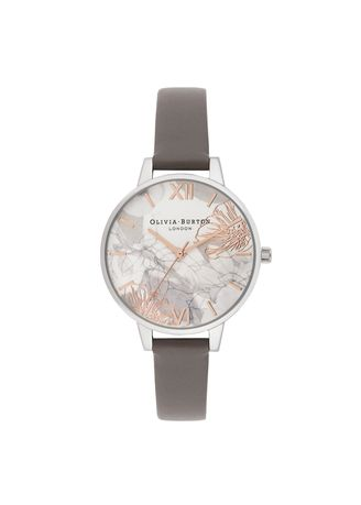 Silver color Analog . Olivia Burton Abstract Floral London Grey Strap Women Watch -