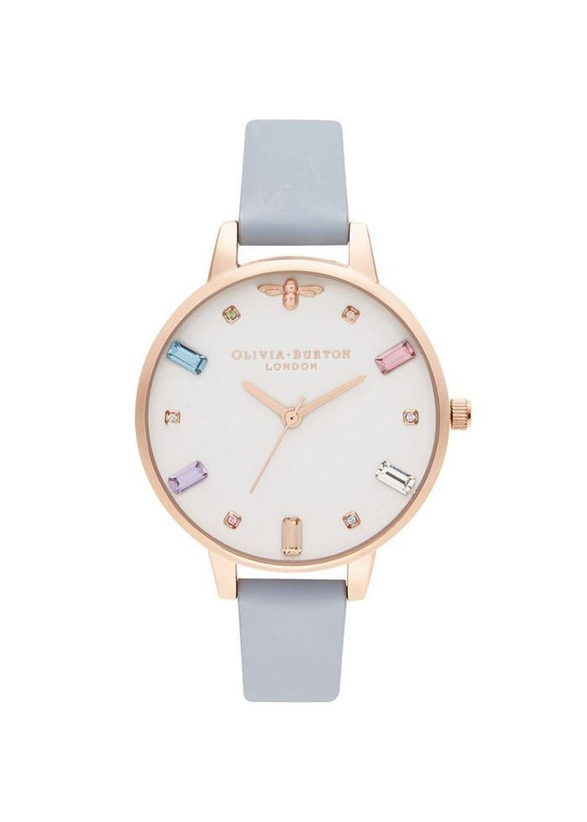Pink color Analog . Olivia Burton Rainbow Bee Leather Women'S Watch -
