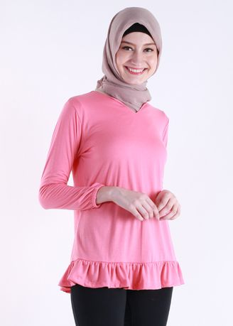 Merah Muda color Atasan . Bottom Frill Tee -