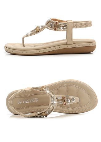 Beige color Sandals and Slippers . Beads Baitao Casual Sandals -
