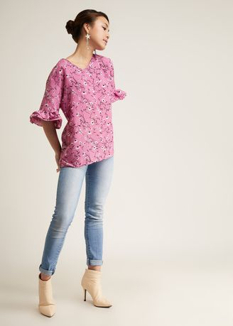 Pink color Tops and Tunics . Jaleesa Sleeve Blouse -